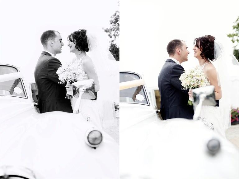 sitting on wedding car
