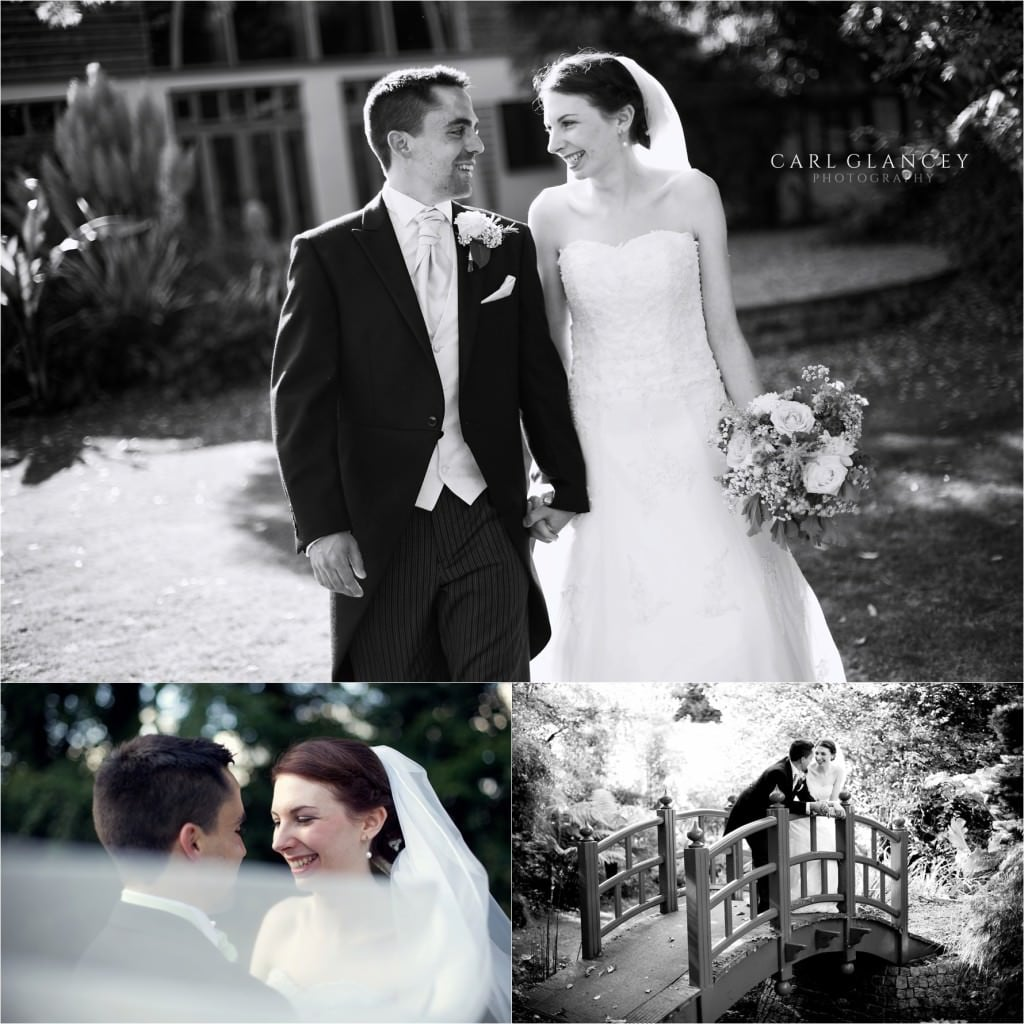 wedding couple in landscaped gardens