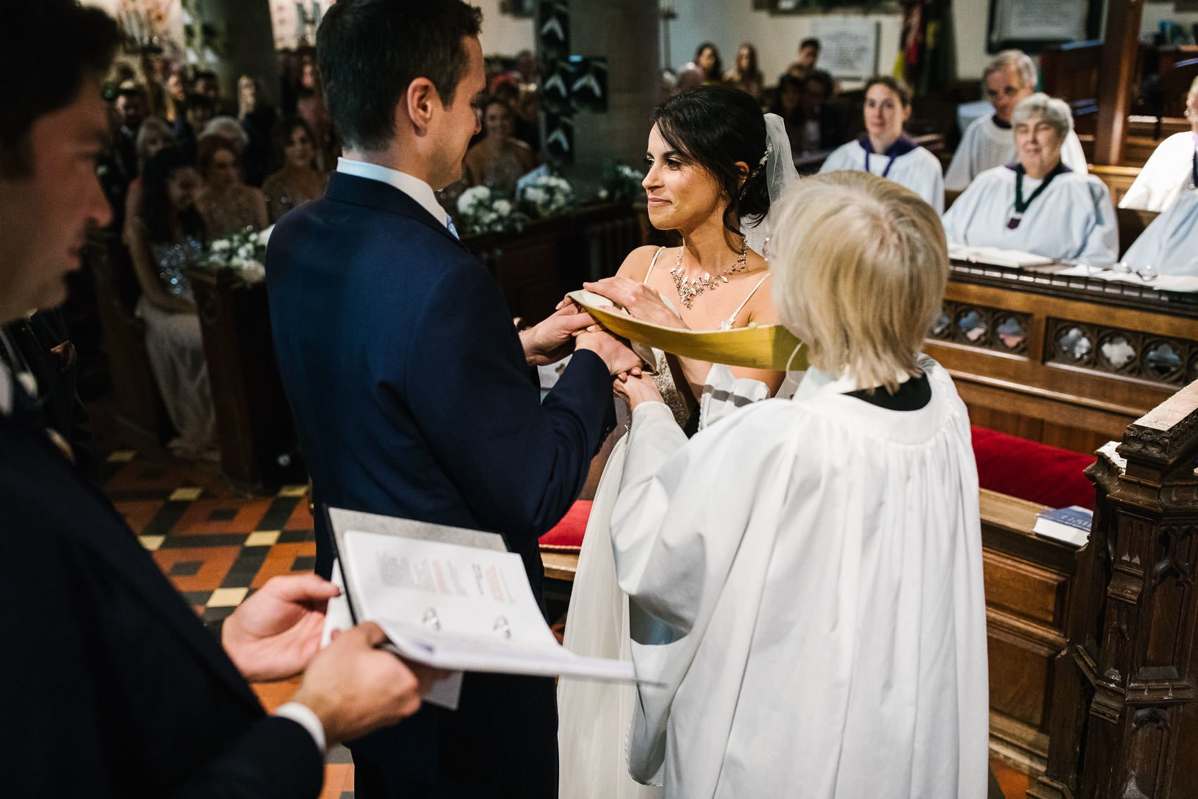 Wedding couple married in church in Surrey